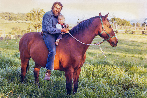 1980 photo of Ted and Aaron on a horse named Teevio