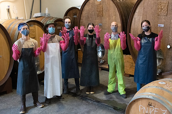 Navarro winery crush interns ready for punchdowns, September 2020.